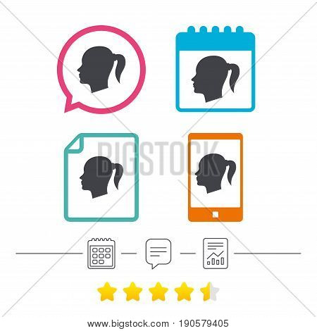 Head sign icon. Female woman human head with pigtail symbol. Calendar, chat speech bubble and report linear icons. Star vote ranking. Vector