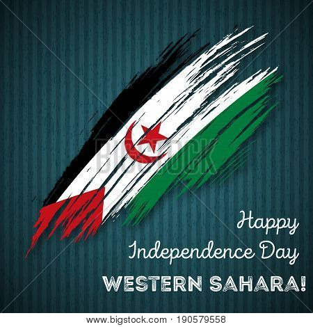 Western Sahara Independence Day Patriotic Design. Expressive Brush Stroke In National Flag Colors On