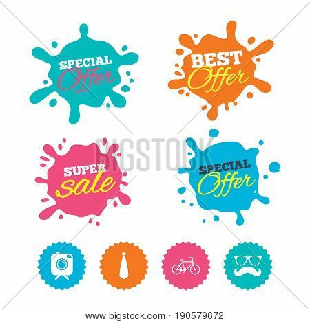Best offer and sale splash banners. Hipster photo camera with mustache icon. Glasses and tie symbols. Bicycle family vehicle sign. Web shopping labels. Vector