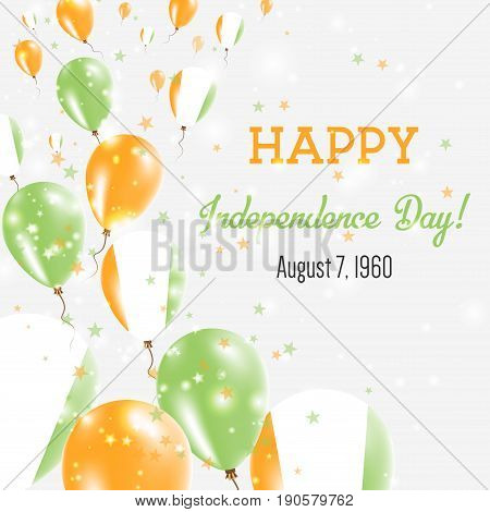 Cote D'ivoire Independence Day Greeting Card. Flying Balloons In Cote D'ivoire National Colors. Happ
