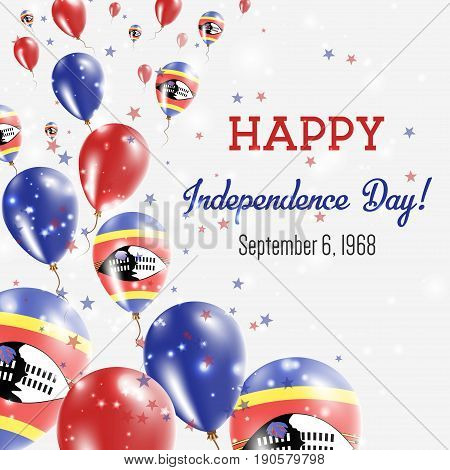 Swaziland Independence Day Greeting Card. Flying Balloons In Swaziland National Colors. Happy Indepe