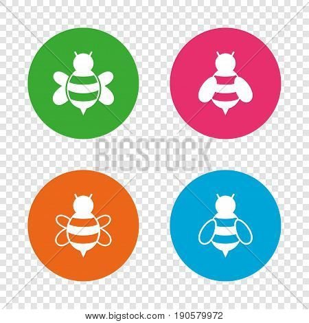 Honey bees icons. Bumblebees symbols. Flying insects with sting signs. Round buttons on transparent background. Vector