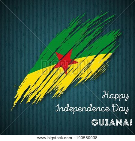 Guiana Independence Day Patriotic Design. Expressive Brush Stroke In National Flag Colors On Dark St