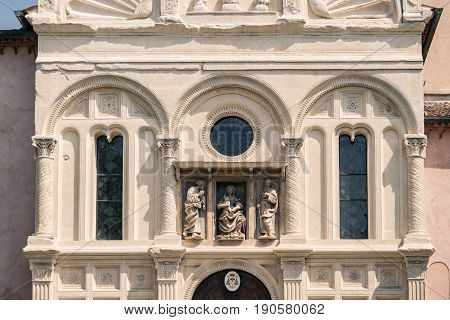 Detail of the church of Our Lady of Miracles in Lonigo Italy is an example of Gothic and Renaissance architecture.
