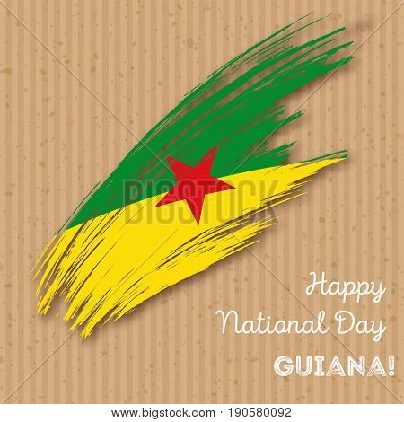 Guiana Independence Day Patriotic Design. Expressive Brush Stroke In National Flag Colors On Kraft P