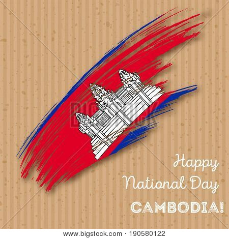 Cambodia Independence Day Patriotic Design. Expressive Brush Stroke In National Flag Colors On Kraft
