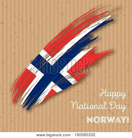 Norway Independence Day Patriotic Design. Expressive Brush Stroke In National Flag Colors On Kraft P