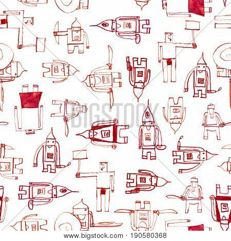 Hero Seamless Pattern. Unusual Child's Drawing With School Pen. Cute Hero Hand Drawn With Red Ink On