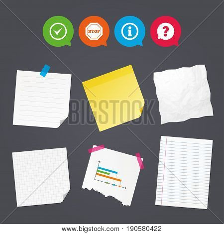Business paper banners with notes. Information icons. Stop prohibition and question FAQ mark speech bubble signs. Approved check mark symbol. Sticky colorful tape. Speech bubbles with icons. Vector