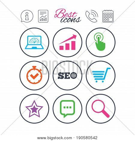 Information, report and calendar signs. Internet, seo icons. Online shopping, charts and speed signs. Chat messages symbol. Phone call symbol. Classic simple flat web icons. Vector