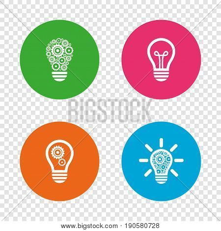 Light lamp icons. Lamp bulb with cogwheel gear symbols. Idea and success sign. Round buttons on transparent background. Vector
