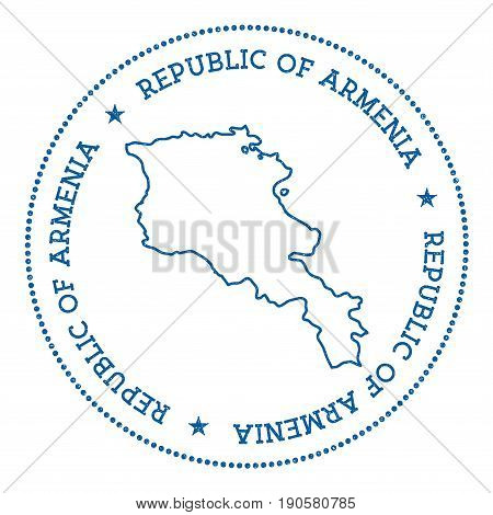 Armenia Vector Map Sticker. Hipster And Retro Style Badge With Armenia Map. Minimalistic Insignia Wi
