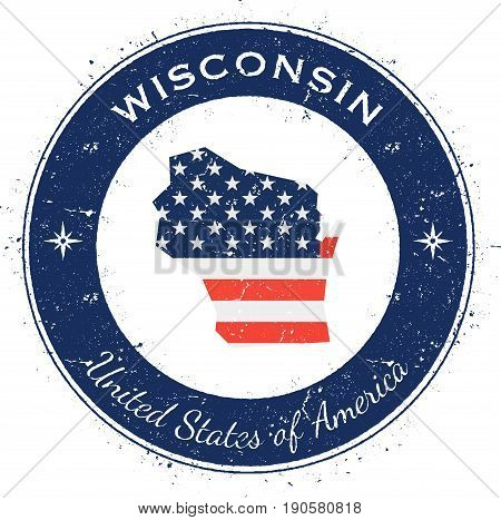 Wisconsin Circular Patriotic Badge. Grunge Rubber Stamp With Usa State Flag, Map And The Wisconsin W