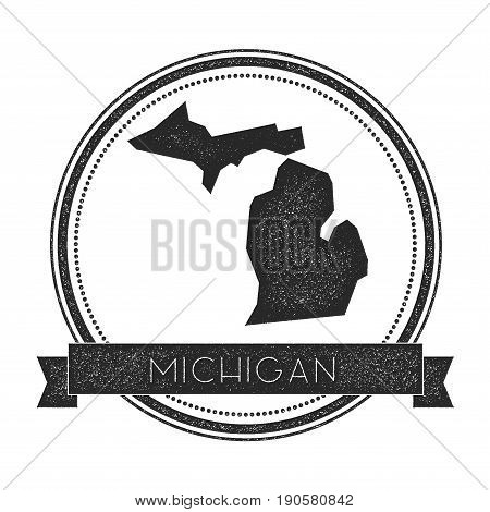 Michigan Vector Map Stamp. Retro Distressed Insignia With Us State Map. Hipster Round Rubber Stamp W