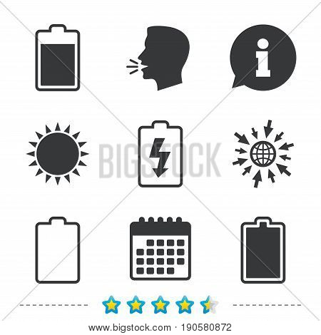 Battery charging icons. Electricity signs symbols. Charge levels: full, empty. Information, go to web and calendar icons. Sun and loud speak symbol. Vector