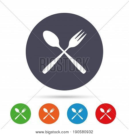 Eat sign icon. Cutlery symbol. Dessert fork and teaspoon crosswise. Round colourful buttons with flat icons. Vector