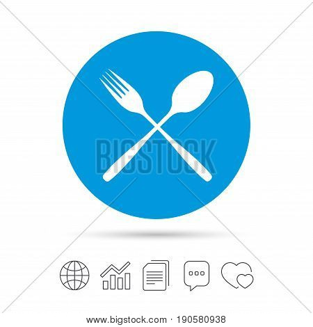 Eat sign icon. Cutlery symbol. Fork and spoon crosswise. Copy files, chat speech bubble and chart web icons. Vector