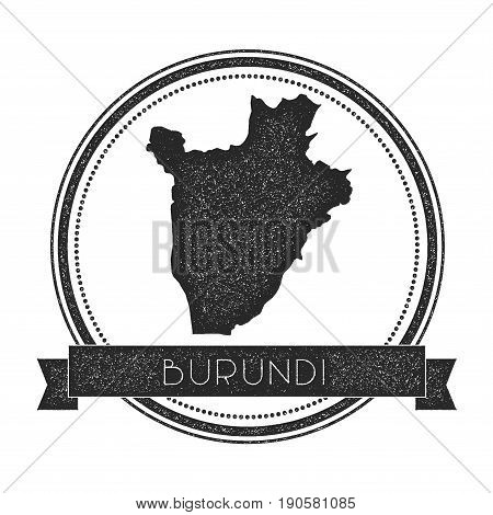 Retro Distressed Burundi Badge With Map. Hipster Round Rubber Stamp With Country Name Banner, Vector