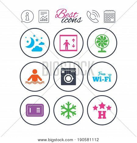 Information, report and calendar signs. Hotel, apartment service icons. Washing machine. Wifi, air conditioning and swimming pool symbols. Phone call symbol. Classic simple flat web icons. Vector