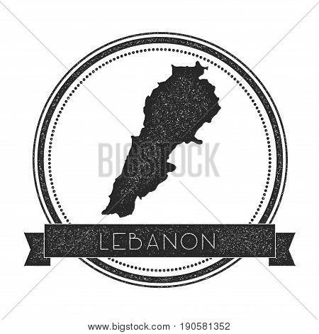 Retro Distressed Lebanon Badge With Map. Hipster Round Rubber Stamp With Country Name Banner, Vector