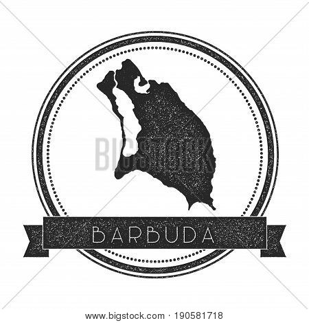 Barbuda Map Stamp. Retro Distressed Insignia. Hipster Round Badge With Text Banner. Island Vector Il