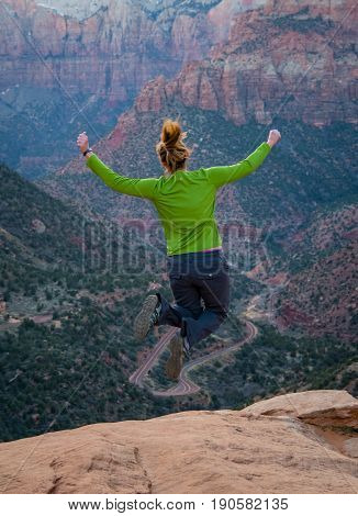 Jumping from Canyon Overlook in Zion National park