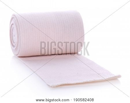 medical elastic bandage on white background sliced, natural, fresh, vegetable,