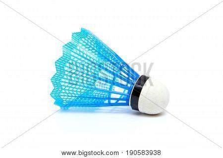 Blue badminton shuttlecock isolated on white background