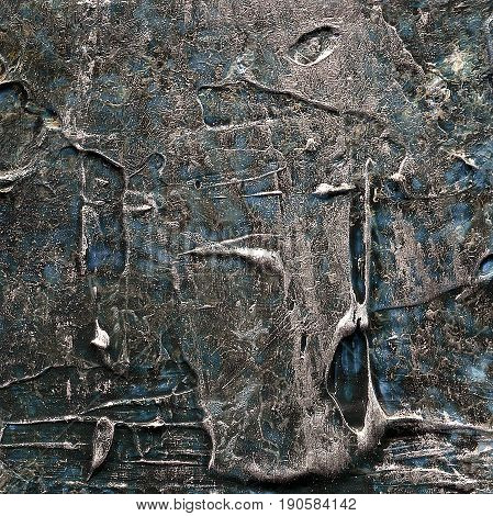Abstract old brown and blue painted acrylic or oil paints texture for background. Modern acrylic oil art. Grunge dirty hand drawn painting on canvas texture for vintage backdrop