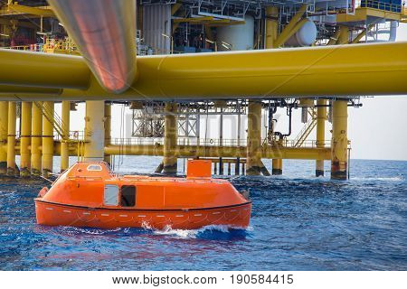 Life boat or survival craft while annual testing to escape at oil and gas central processing platform