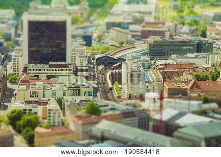 Aerial View Of Berlin Skyline With S-bahn Tracks Rapid Train And Colorful Buildings