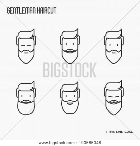Set of icons with bearded men. Different types of beard. Thin line vector illustration