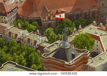 Aerial View Of The Flag Of Berlin On The Top Of Rotes Rathaus Building