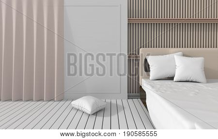 bedroom in soft light colors. decorated with slat wall, white wood  floor, pillow and blanket. Big comfortable  bed in classic bedroom. 3D render.