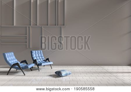 Living room. Decor with two blue armchairs, blue-white pillow, grid cement wall and tile floor. The sun shines through the window into the shadows. 3D render.