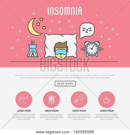 Insomnia and sleep concept. Man in sleeping mask lying on comfortable pillow near clock and aromalamp. Around moon and bubble with Zzz sign. Thin line vector illustration.