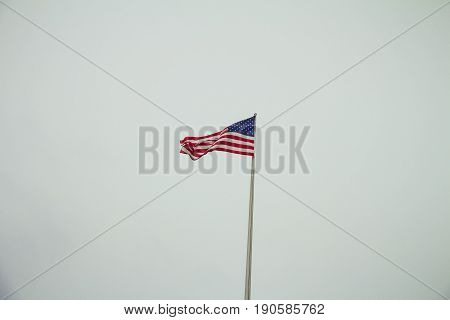 American Flag On Top Of The Us Embassy In Berlin On A Winter Day
