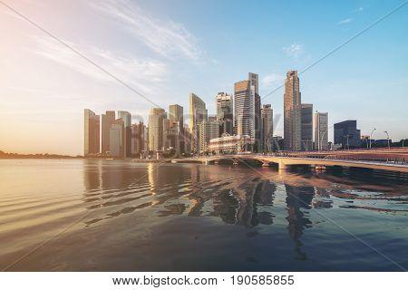 Singapore Skyline At Sunrise At Marina Bay