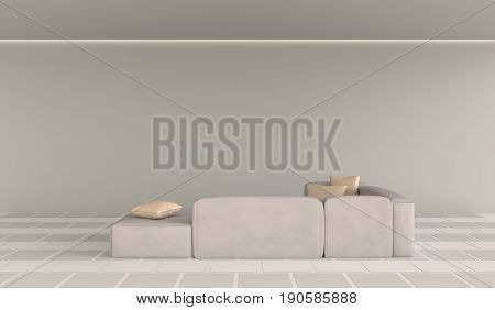 The cozy living room is furnished with furniture color of warm. Sample of furniture like pillows, sofa. Floor decorate with tile 2 color. 3d render.