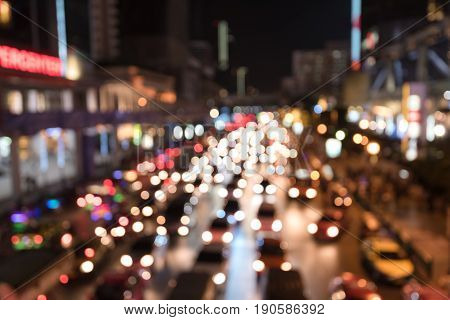traffic jam night in rush hour for city background