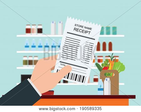 Hand holding grocery shopping receipt on Supermarket interior with Cashier counter shelves and products on blur background Vector illustration.