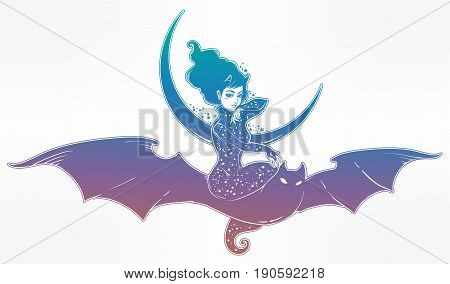 Sexy beautiful witch girl flyng on a bat over the moon. Portrait of young undead magic monster lady for t-shirt design or print. Fashion sketch vector illustration. Weird gothic tattoo art. Halloween.
