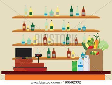 Supermarket interior with Cashier counter workplace Shopping paper bag with food and drinks shelves with products on blur background Vector illustration.
