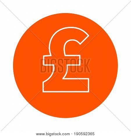 Pound symbol vector monochrome round icon flat style