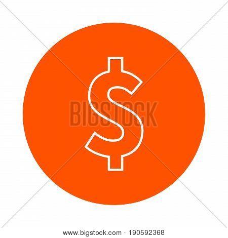 Stylized dollar symbol vector monochrome round icon flat style