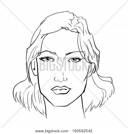 Hand-drawn graphics fashion portrait with beautiful young woman inviting girl top model. For your design logo signage brochures booklets on business cards in beauty salons. Vector sketch style