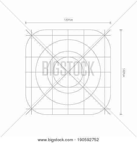 Vector App Icon Dimensions, Development Grid Line