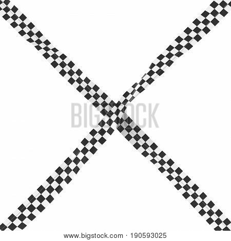 Black And White Checkered Finishing Line Tape Cross Isolated On White Background 3D Illustration