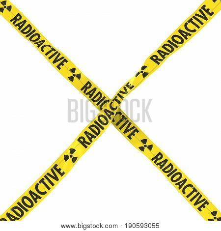 Radioactive Barrier Tape Yellow And Black Cross Isolated On White Background 3D Illustration