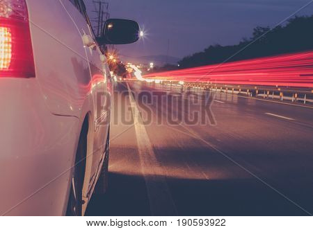 car fast drive / Car at Night / soft focus picture